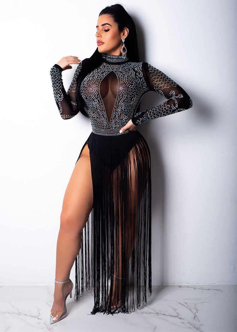 Красный, черный, синий кристаллы прозрачный боди сексуальный перспективный Стразы комбинезон с кисточками ночной клуб бар танцор DJ сценический костюм