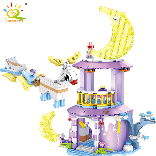 HUIQIBAO 270pcs Moon Fairy dream House Building Blocks Friends For Girls Figures Bricks Educational Children Toys