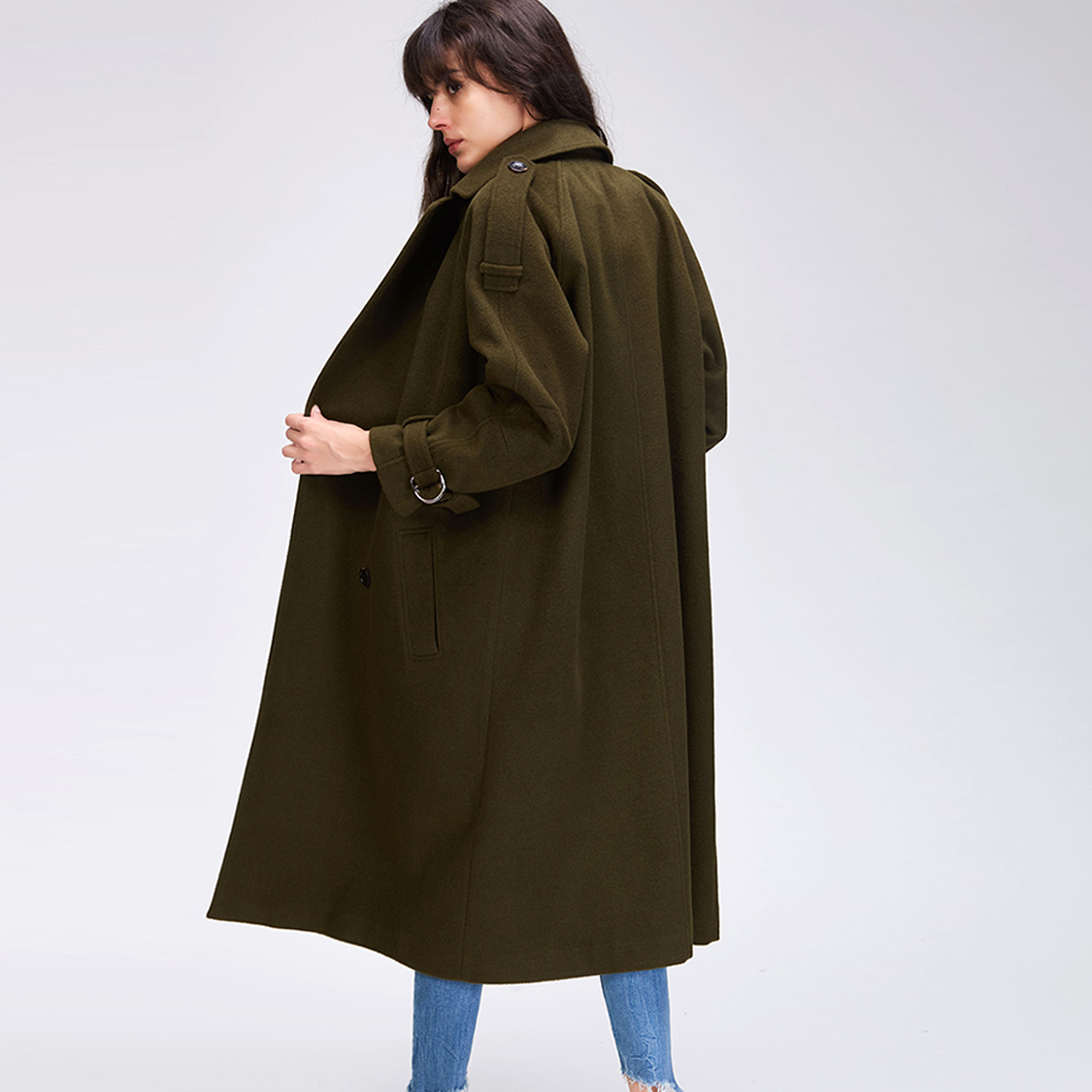JAZZEVAR 2019 Autumn winter New Women s Casual wool blend trench coat oversize Double Breasted X