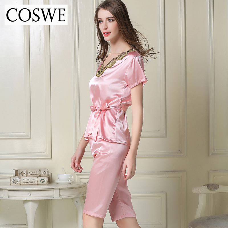 Woman Pajamas Pants Female Home wear Summer Pajama Sets White Pink Satin  Silk Pajamas For Women ... c2723f063