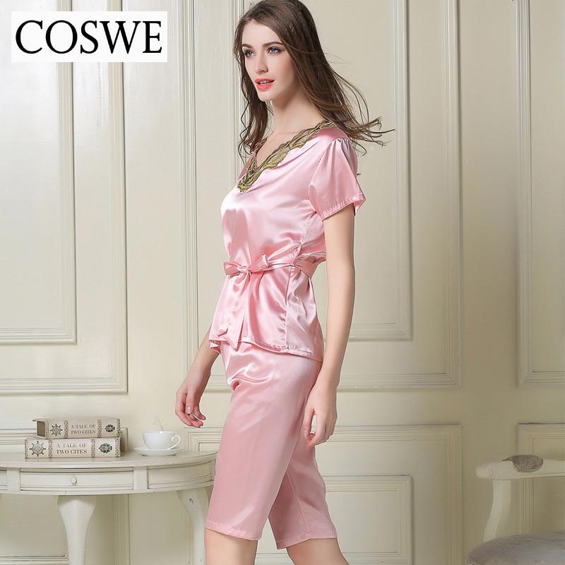 Woman Pajamas Pants Female Home wear Summer Pajama Sets White Pink Satin  Silk Pajamas For Women Suit Short Home 74c68272f