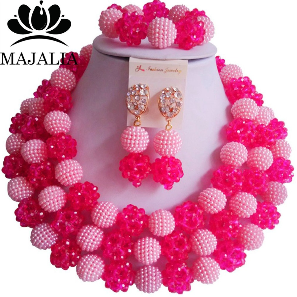 Fashion african jewelry pink Plastic and Hot Pink crystal nigerian wedding african beads jewelry set Free shipping Majalia-440 hot pink