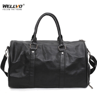 Black PU Leather Travel Bag Big Duffel Round Tote Women Men S Gymnastic Bags For Shoes