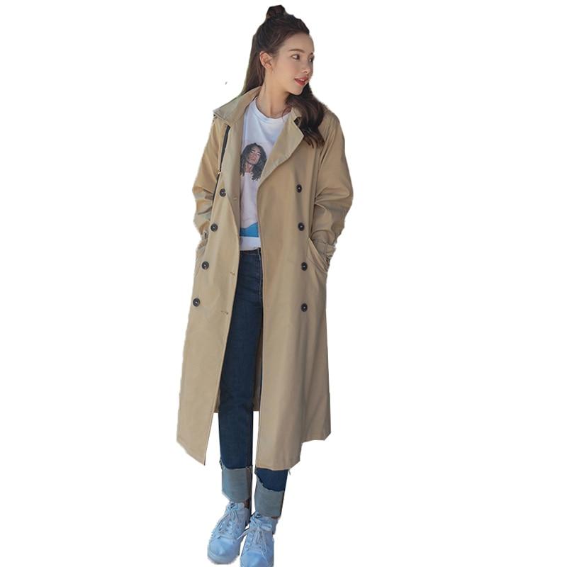 windbreaker women coat 2018 spring Korean long khaki full knees casual loose Double-breasted Women's trench coat outerwear