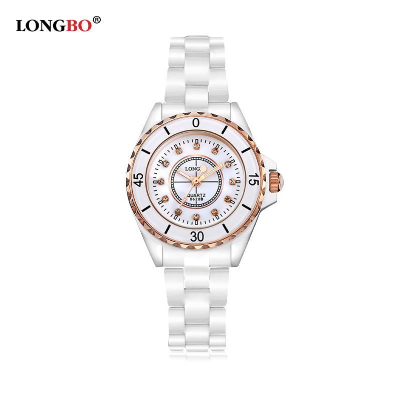 Luxury White Ceramic Water Resistant Sports Women Wrist Watch Top Quality ladies Rhinestone Classic ceramic watches