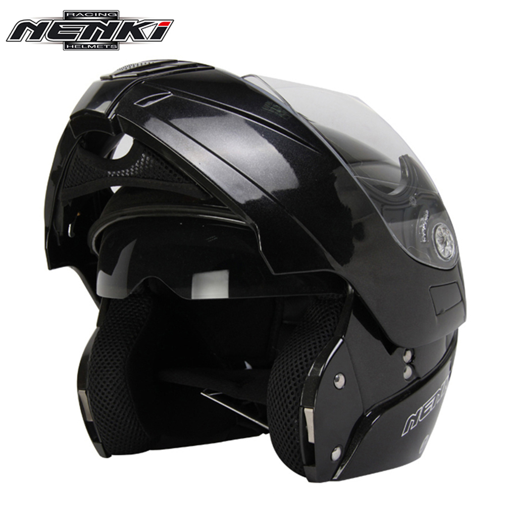 ФОТО NENKI Motorcycle Full Face Helmet Modular Flip Up Street Bike Moto Motorbike RacingRiding Helmet with Dual Visor Sun Shield Lens