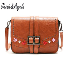 Jiessie & Angela Fashion Women Messenger Bags Vintage Style PU Leather Crossbody Saddle Handbags Retro Shoulder Purse