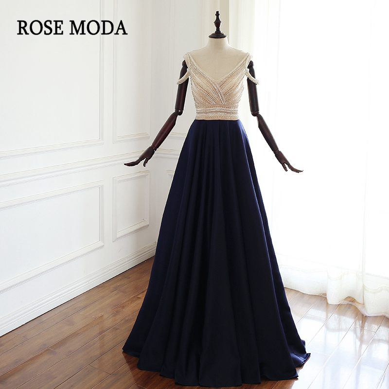Rose Moda V Neck Navy Floor Length   Prom     Dress   with Crystals Backless Crystal Party   Dress