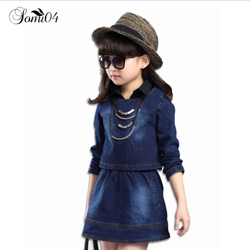 Kids Girls 2018 Spring New Children's Cowboy Suit Long-sleeved T-shirt 2 Piece Dress + Coat Teens 5 6 7 8 10 12 13 Years Clothes