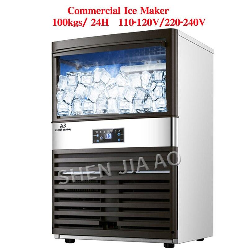 Ev Aletleri'ten Buz Makineleri'de 100 kg/24 H buz makineleri 110 V/220 V buz yapma makinesi süt çay odası/küçük bar/kahve dükkanı tam otomatik büyük buz küpü makinesi title=