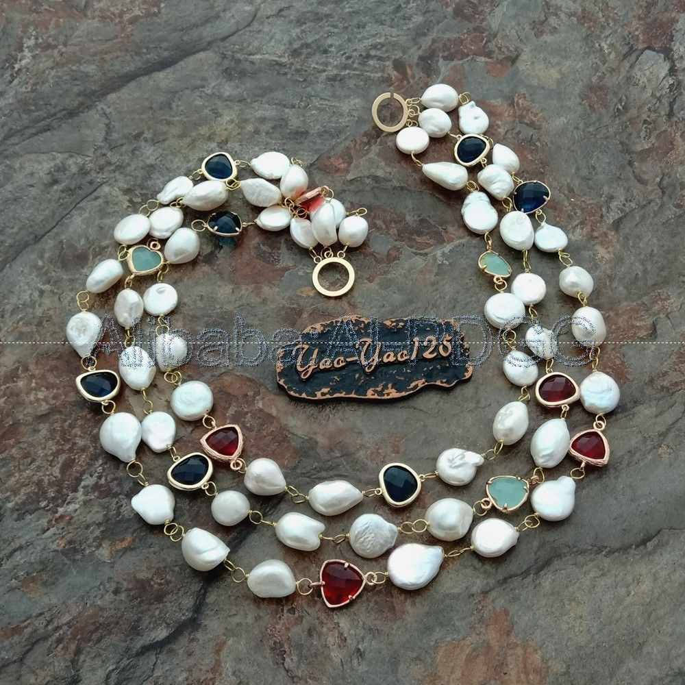 "20"" 3 Rows White Baroque Pearl Coin Pearl Crystal Necklace"