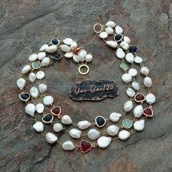 20 3 reihen Weiß Barocke Perle Münze Perle Kristall Halskette