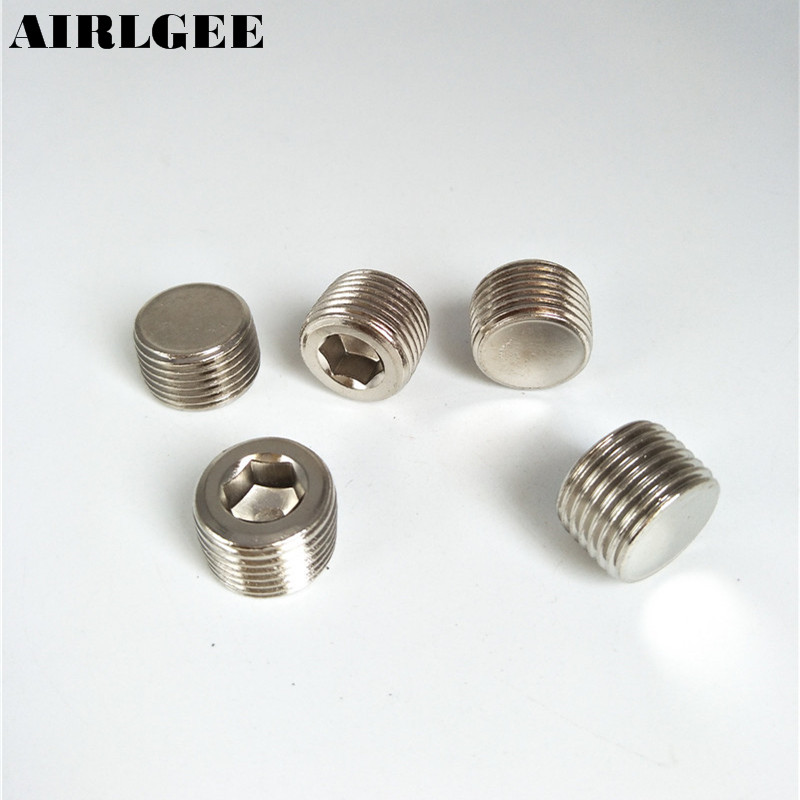 Air 1/2 PT Male Thread Internal Hexagon Hex Head Pipe Plug Pneumatic Fitting 5 Pcs Free shipping 6 pcs air pipe fittings 1 4pt male thread hex socket brass plugs caps