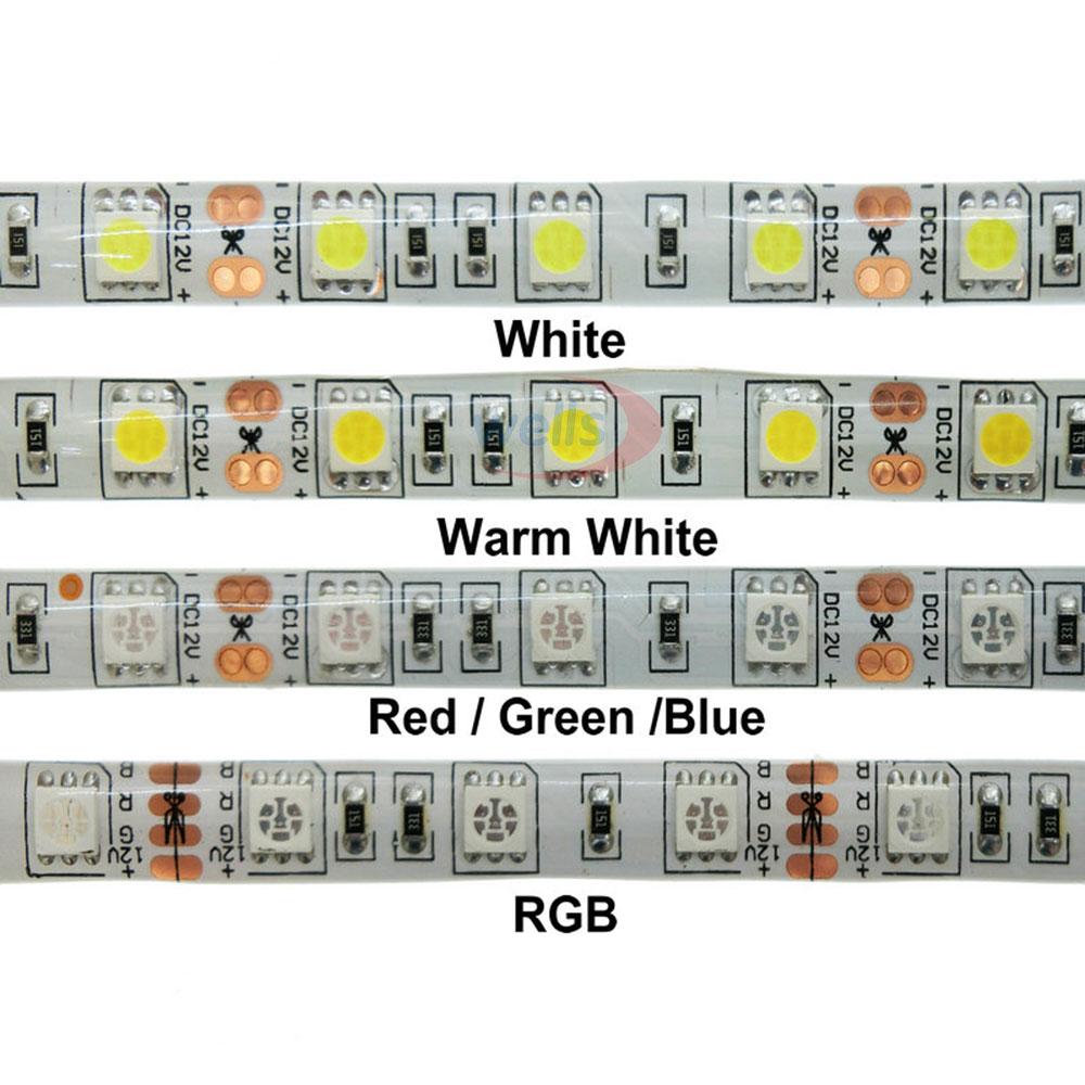5M lot DC12V 5050 SMD 60LEDs m White Warm White Red Green Yellow Blue Pink RGB UV RGBW RGBWW Flexible Led Strip Light tape in LED Strips from Lights Lighting