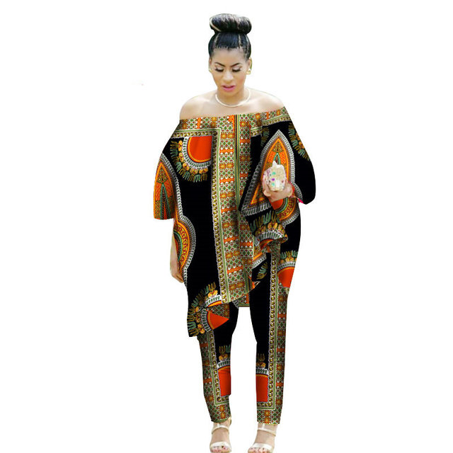 afddf5e1ce Dashiki African Clothes Women 2 Piece Set Cotton Print Wax Crop Top and Skirt  Set Good Sewing African Women Suits Clothes