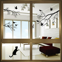 Free Shipping Cat Play With Tree Branch Birds Wall Stickers Decor Decals for and WindowS Vinyl Removable Decal Murals