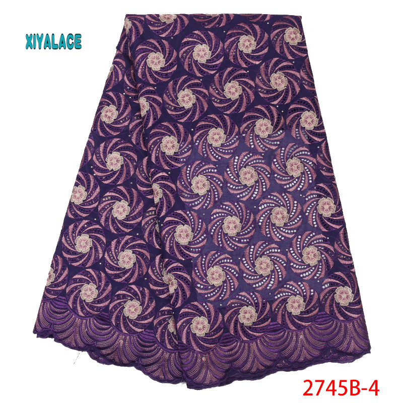 Purple Swiss Voile Lace African Lace Fabrics 2019 Nigerian Swiss Voile Lace High Quality French Switzerland Wedding YA2745B-4