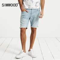 SIMWOOD 2017 Summer New Denim Shorts Fashion Bleached Slim Fit Knee Length Casual Cotton Brand Clothing