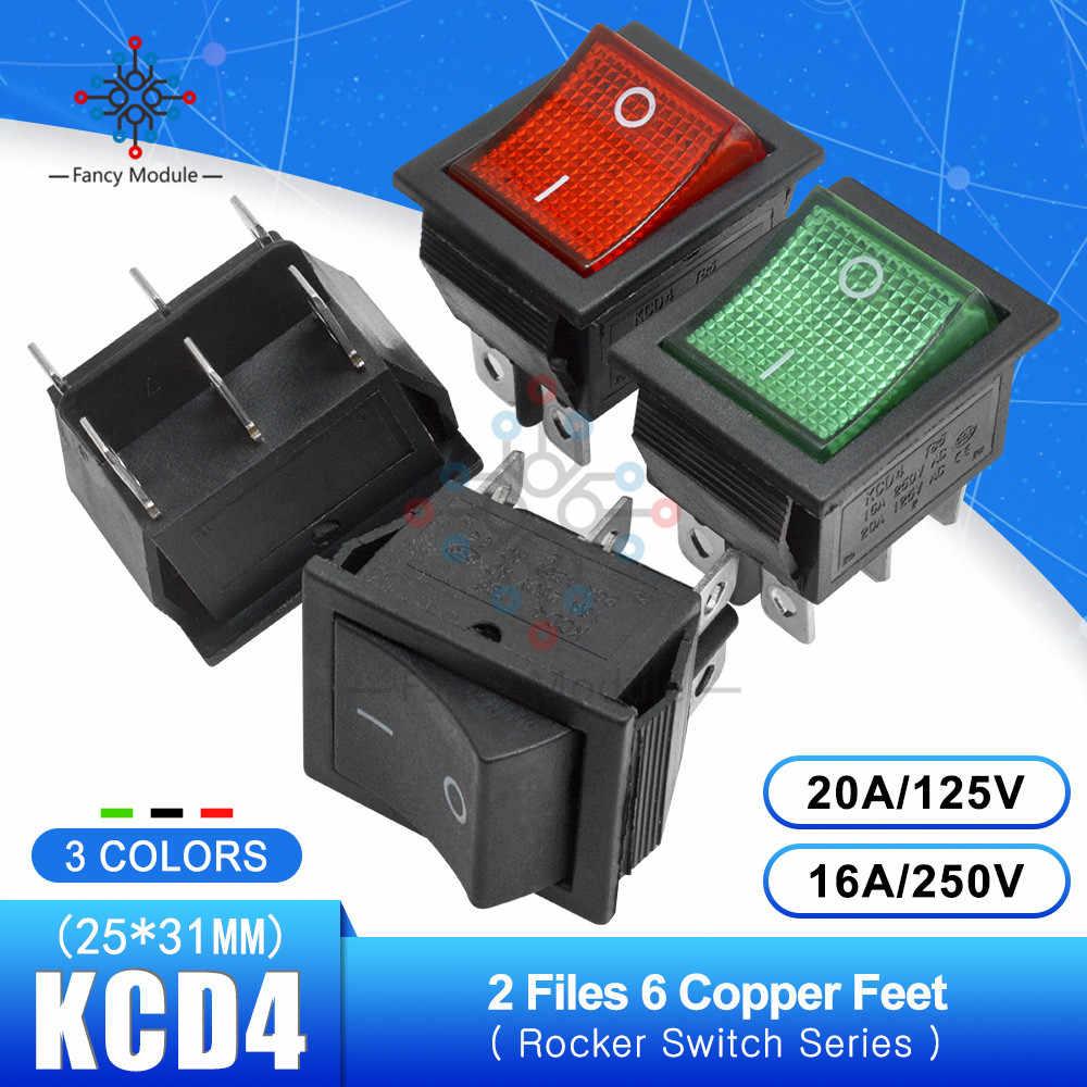 KCD4 125 V 25*31 ミリメートル 2 ファイル 6 ピン表示 Feets ロッカースイッチ電源タッチのオン/オフ船型スイッチライト 16A 250 V 30A 125 V