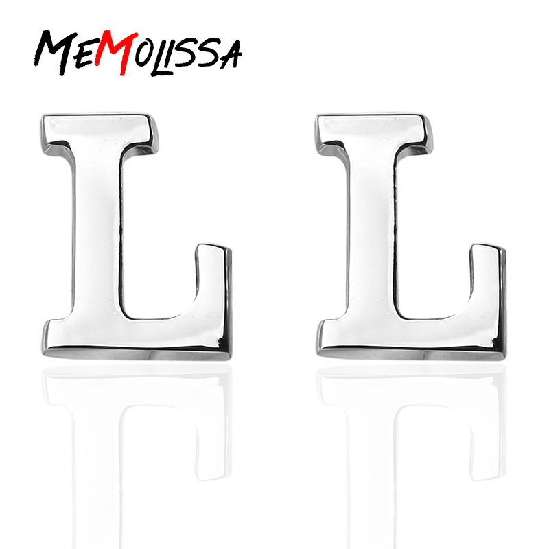 MeMolissa Initial L Letter Cufflinks For Mens High Quality Silver Color Cuff Buttons Wedding Cuff Links Men Gemelos Jewelry