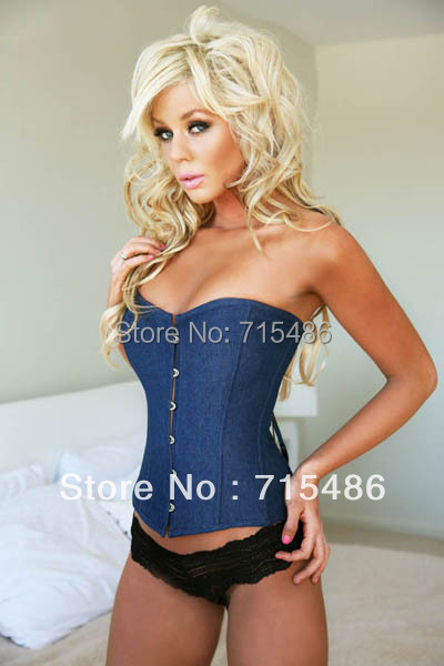Newly Fashion S,M,L,XL size Free Shipping Blue Denim Underbust Corset