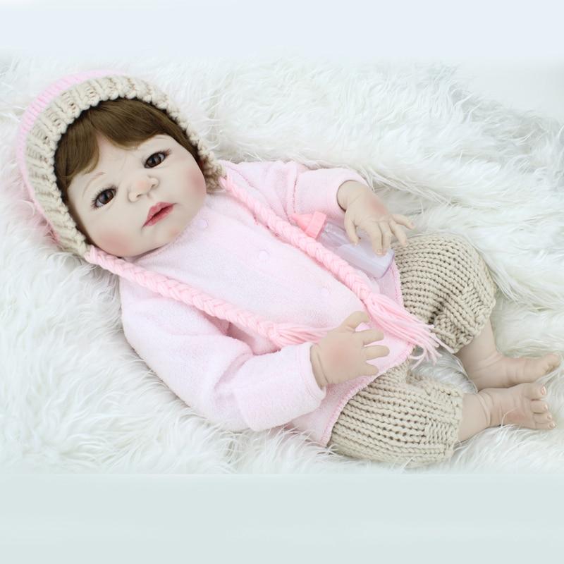 "Buy Full body siliconer reborn babies dolls 22"" realistic newborn girl dolls reborn fashion children gift dolls bebe alive reborn"