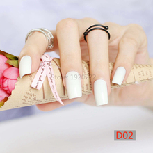 24pcs Hot sell fashion Long section Square head candy false nails decoration white D02