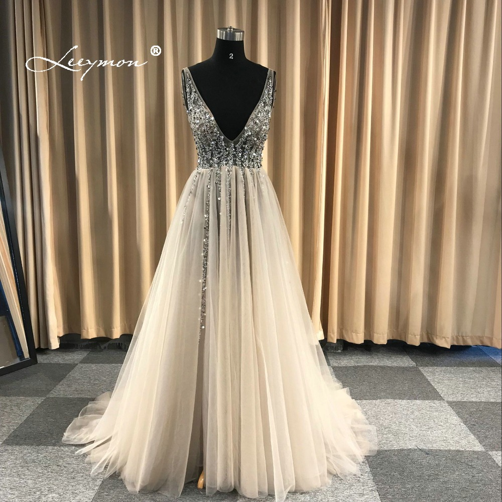 V Neck Sparkly Beaded Evening Dress 2018 Backless Evening Party Dress Elegant Sexy See Through High Split Vestido de Festa