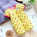 Девочка ползунки летнего стиль bebe с коротким рукавом ребенка ползунки младенческой новорожденных в целом