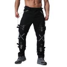 Calça cargo punk rock masculina, calça jogger hip hop da moda, calças cargo com zíper, calças de vinatge, direto de fábrica, 2020
