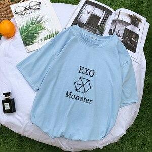 Женская хлопковая Футболка EXO, розовая свободная футболка с коротким рукавом в Корейском стиле, уличная одежда, повседневные топы в стиле Ха...