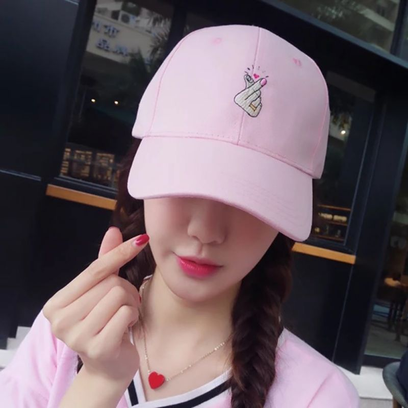 One Size Solid Cap Unisex Embroidery Little Love Cotton Hats Men Women Snapback Caps Fashion Pink White Black Adjustable Hat H9