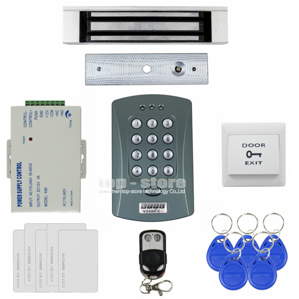 DIYSECUR 180kg Magnetic Lock 125KHz RFID Password Keypad Access Control System Security Kit + Remote Control V2000-C diysecur touch panel rfid reader password keypad door access control security system kit 180kg 350lb magnetic lock 8000 users