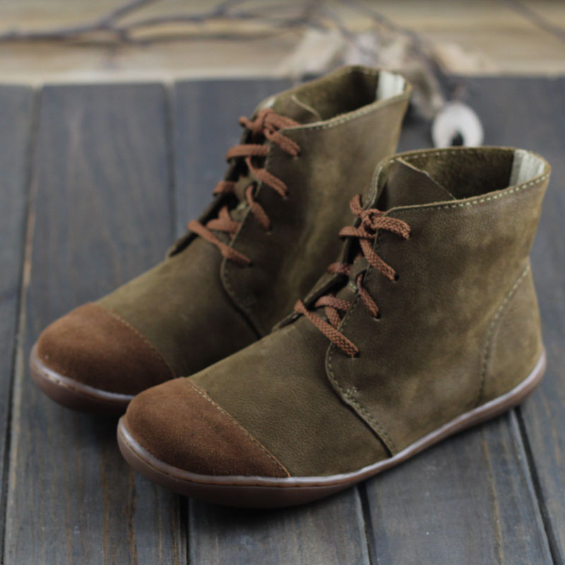 Imter Botas Sapatos Com Os Pés Descalços das Mulheres Plus Size 100% Couro Genuíno Ata acima Botas Outono Botas Senhoras Tornozelo (108 -1)