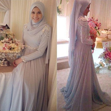Kaftan 2016 Elegant Chiffon Hijab Muslim Dress Arabic Style Dubai Formal Gown with Crystal Beaded New Evening Gowns Dresses