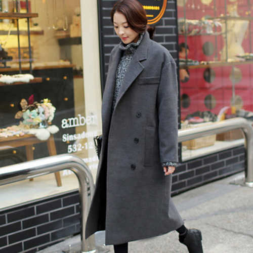 New arrival 2017 winter wool coat women loose cocoon thickening warm woolen coat outerwear large size