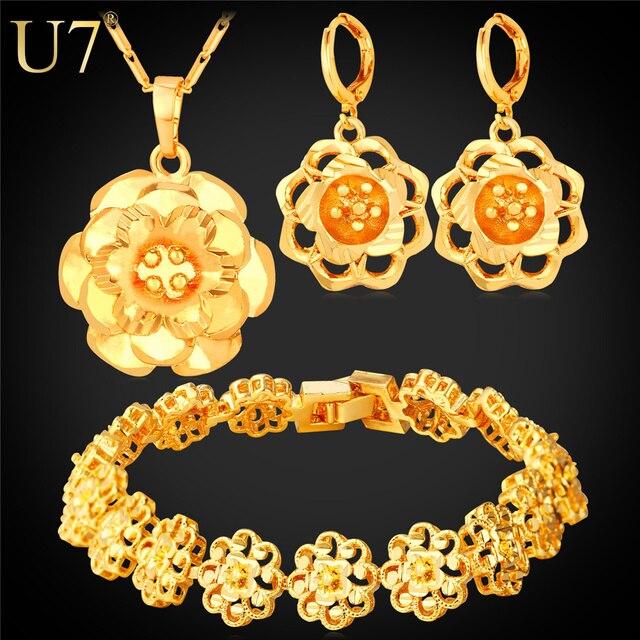 U7 Позолоченные Винтажный Цветок Ожерелье Серьги Браслет Ювелирные Комплекты Для Женщин Свадебные Украшения S774