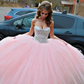 Sparkle Crystals Sweet  Pink Color Sweetheart Ball Gown Pink Homecoming Dresses Custom Made Size 2 -22 w