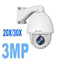 3MP 1080P 20X/30X optical zoom IP PTZ Auto tracking P2P onvif IR outdoor Built in wiper Network high speed dome camera