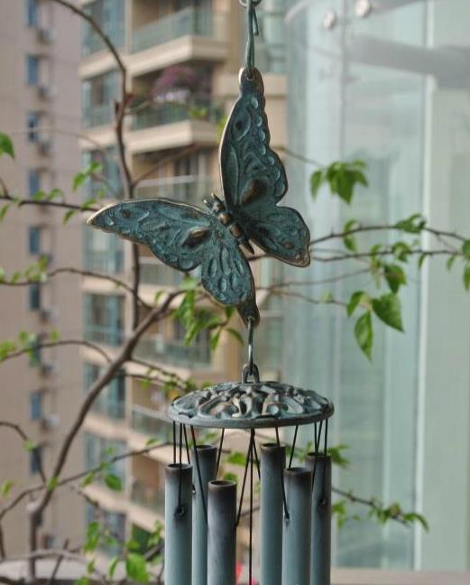 100% pur laiton papillon carillons à vent Verdigris Bronze suspendus décor Vintage sonorité métal vent carillon cloches cour porche jardin