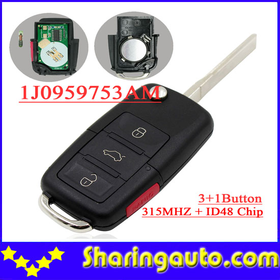 bilder für Freies verschiffen (1 stück) 3 + 1 taste Flip remote key id 48 chip 315 MHZ 1j0959753AM für vw Volkswagen Beetle Golf Jetta Passat