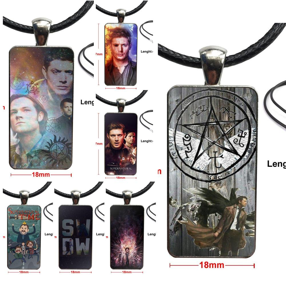 Pro Supernatural Tv Quotes Logo Glass Cabochon Pendant Necklace Rectangle Fashion Necklace For Child image