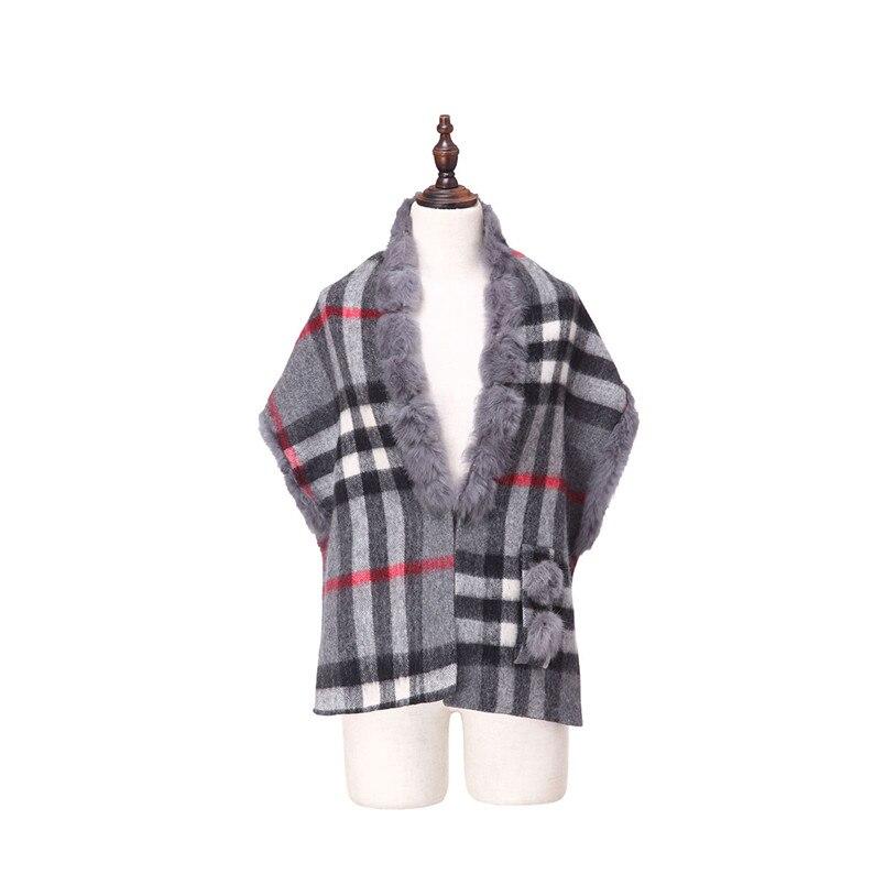 ZY87036 2016 nouveau Design spécial mode femmes automne hiver géométrique écharpe laine avec col de lapin de luxe enveloppes Poncho - 2