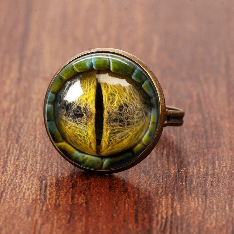 SUTEYI Adjustable Rings Cabochon Handmade Colorful Friend Eye Glass for Send 100-% Gift
