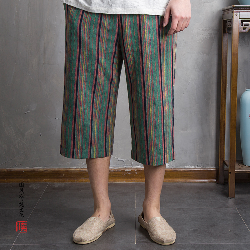 2018 Chinese wind new men wide-legged stripes K19P55 of 7 minutes of pants