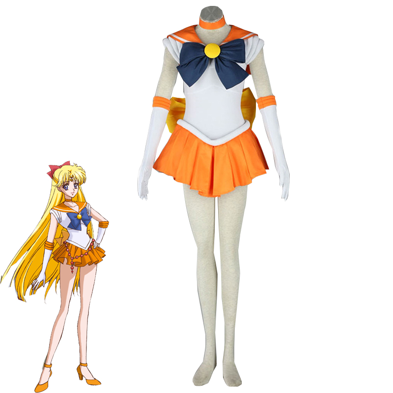 Anime Sailor Moon Minako Aino / Sailor Venus Cosplay Costume Lovely Venus Dress Halloween Carnival Outfits Custom Made