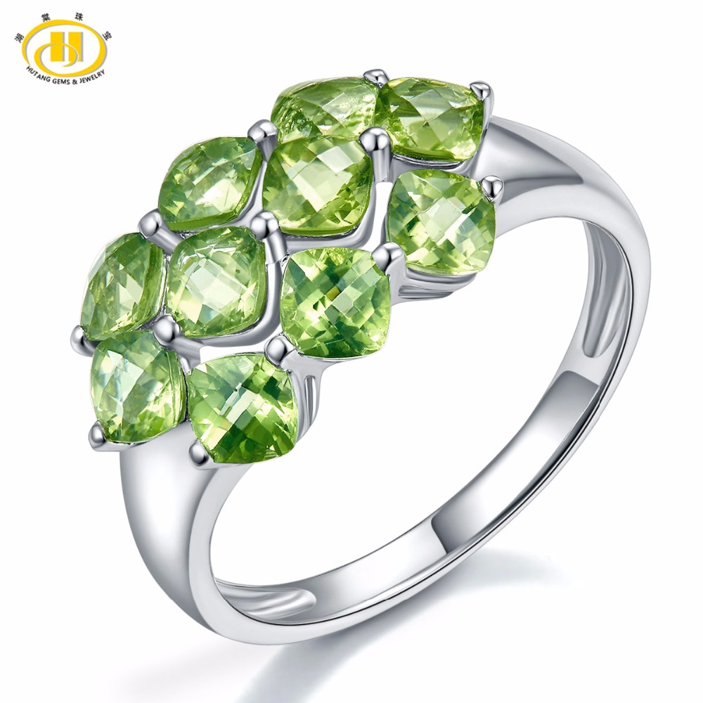 Hutang Wedding Ring 3.6ct Natural Peridot Solid 925 Sterling Silver Checkerboard Cut Gemstone Fine Jewelry for Women Gift New