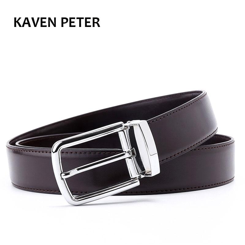 Men's Formal Leather   Belt   Waist Metal Pin Buckle With Clip   Belts   Silver Color Buckle For Men   Belts   Solid Pattern Black Brown