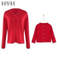 HYH Haoyihui Brand Red Parent Child Clothing Sweater Women O Neck Long Sleeve Single Breasted Cardigan