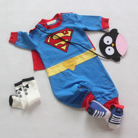 2014 New Baby Boy Superman Long Sleeve With Smock Rompers Halloween Christmas Costume Boys Rompers Spring